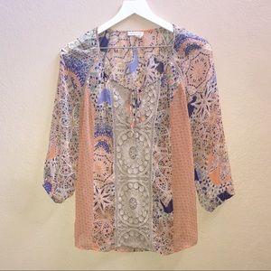 Anthropologie Orange Crochet blouse